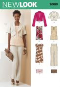 6080 New Look Pattern: Misses' Jacket, Dress, Top, Trousers and Clutch Bag